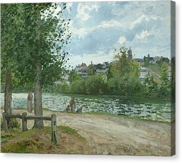The Banks Of The Oise At Pontoise Canvas Print by Camille Pissarro
