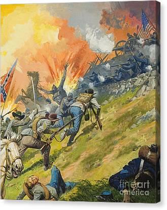 The Battle Of Gettysburg Canvas Print by Severino Baraldi