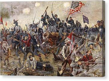 The Battle Of Spotsylvania Canvas Print by Henry Alexander Ogden