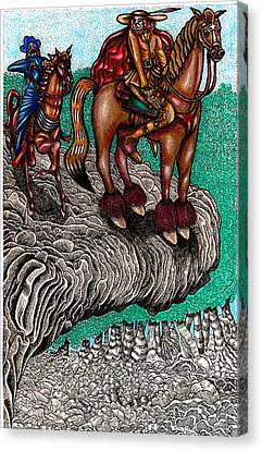 The Beast And Nahamanides In Shitaki Forest Canvas Print by Al Goldfarb