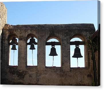 The Bells At The San Juan Capistrano Mission Canvas Print by Pat Cannon