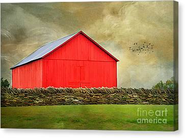 The Big Red Barn Canvas Print by Darren Fisher