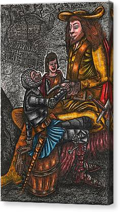 The Black Knight Thanks The Beast For Saving Him Canvas Print by Al Goldfarb
