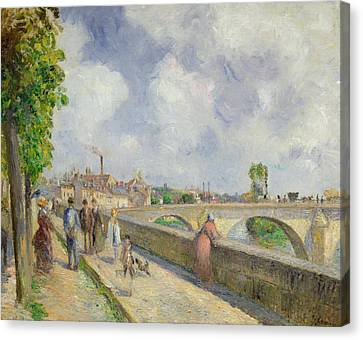 The Bridge At Pontoise Canvas Print by Camille Pissarro