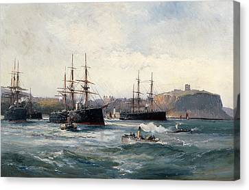 The Channel Fleet Off Scarborough Canvas Print by William Lionel Wyllie