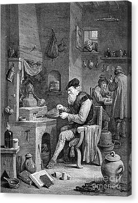 The Chemist, 17th Century Canvas Print by Science Source