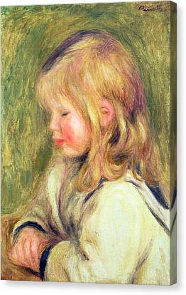 The Child In A White Shirt Reading Canvas Print by Pierre Auguste Renoir