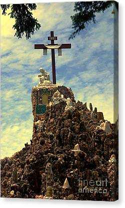 The Cross IIi In The Grotto In Iowa Canvas Print by Susanne Van Hulst