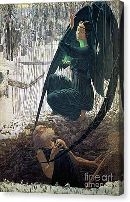 The Death And The Gravedigger Canvas Print by Carlos Schwabe