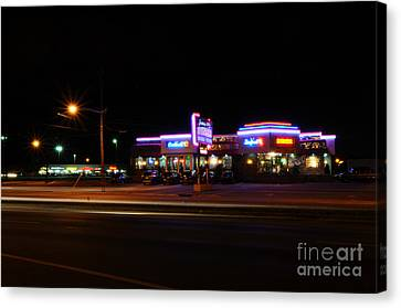 The Diner At Night Canvas Print by Paul Ward