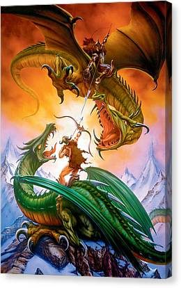 The Duel Canvas Print by The Dragon Chronicles