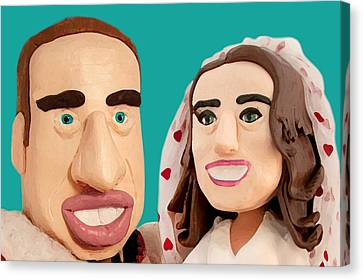 The Duke And Duchess Of Cambridge Canvas Print by Louisa Houchen