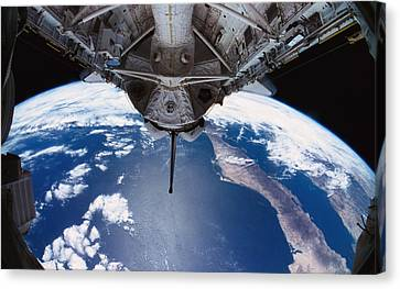 The Earth Viewed From The Space Shuttle Canvas Print by Stockbyte