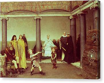 The Education Of The Children Of Clothilde And Clovis Canvas Print by Sir Lawrence Alma-Tadema
