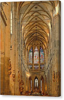 The Enormous Interior Of St. Vitus Cathedral Prague Canvas Print by Christine Till