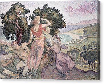 The Excursionists Canvas Print by Henri-Edmond Cross