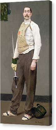 The Fencing Master Canvas Print by Julius Gari Melchers