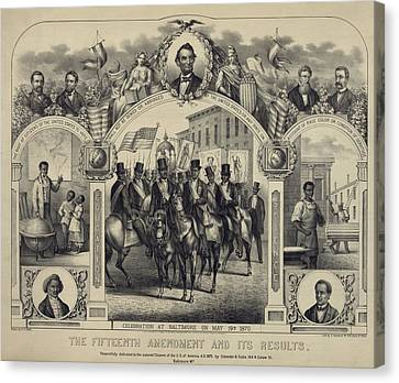 The Fifteenth Amendment Banning Voting Canvas Print by Everett