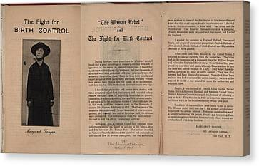 The Fight For Birth Control, A Pamphlet Canvas Print by Everett