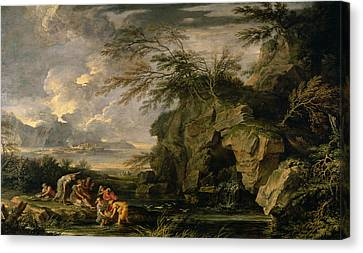 The Finding Of Moses Canvas Print by Salvator Rosa
