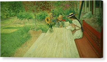 The First Lesson Canvas Print by Carl Larsson