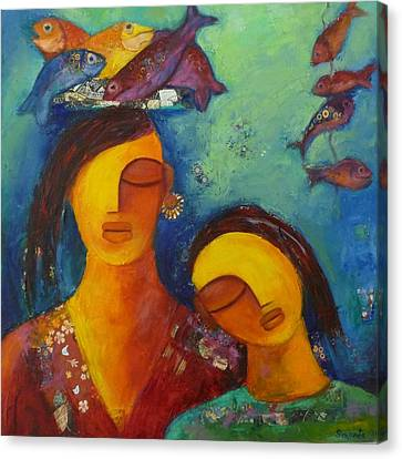 The Fish Seller Canvas Print by Sangeeta Charan