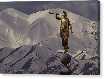 The Gilded Statue Of The Angel Moroni Canvas Print by James P. Blair