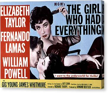 The Girl Who Had Everything, Elizabeth Canvas Print by Everett