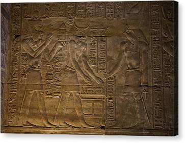 The Gods Horus, Hathor And The Pharaoh Canvas Print by Taylor S. Kennedy