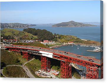 The Golden Gate Bridge North Side Overlooking Angel Island And Tiburon And Horseshoe Bay . 7d14494 Canvas Print by Wingsdomain Art and Photography