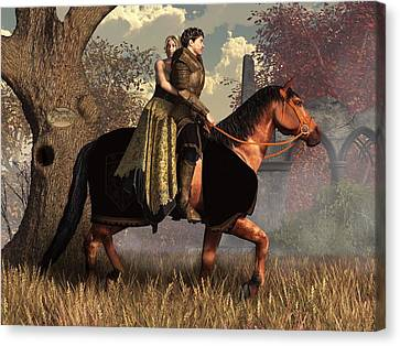 The Golden Knight And His Lady Canvas Print by Daniel Eskridge