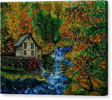 The Grist Mill In Autumn Canvas Print by Tanna Lee M Wells