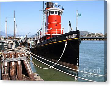 The Hercules . A 1907 Steam Tug Boat At The Hyde Street Pier In San Francisco California . 7d14137 Canvas Print by Wingsdomain Art and Photography