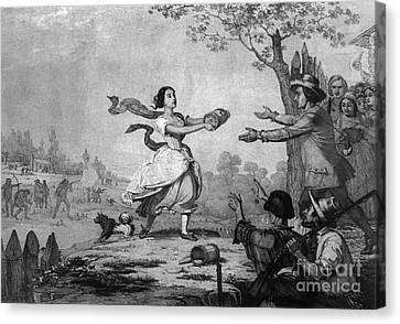 The Heroism Of Miss Elizabeth Zane, 1782 Canvas Print by Photo Researchers