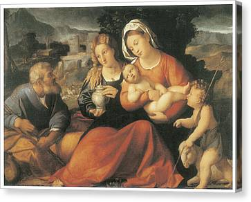 The Holy Family And Mary Magdalene Canvas Print by Palma The Elder