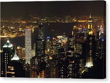 The Hong Kong Skyline Seen Canvas Print by Justin Guariglia