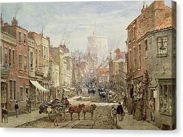 The Household Cavalry In Peascod Street Windsor Canvas Print by Louise J Rayner