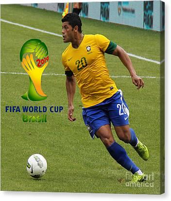 The Hulk Kicking Fifa 2014 Canvas Print by Lee Dos Santos