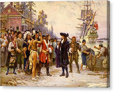 The Landing Of William Penn, 1682 Canvas Print by Photo Researchers