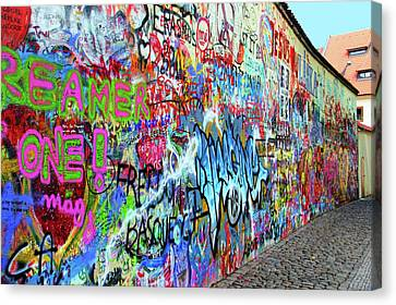 The Lennon Wall Canvas Print by Mariola Bitner