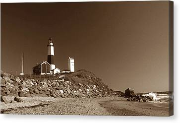 The Light At Montauk Point Canvas Print by Skip Willits