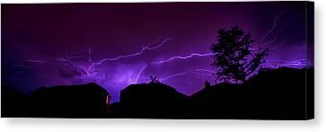 The Lightning Over Avery Neighborhood Canvas Print by Lisa  Spencer