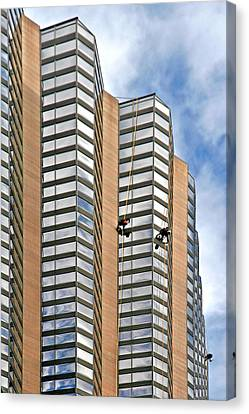 The Loneliness Of The Skyscraper Window Cleaner Canvas Print by Christine Till