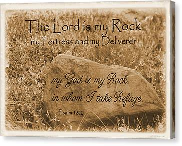 The Lord Is My Rock Psalm 18 Canvas Print by Robyn Stacey