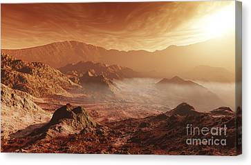 The Martian Sun Sets Over The High Canvas Print by Steven Hobbs