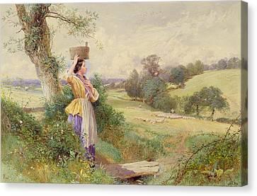 The Milkmaid Canvas Print by Myles Birkey Foster