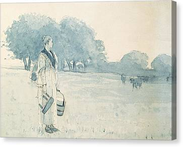 The Milkmaid Canvas Print by Winslow Homer
