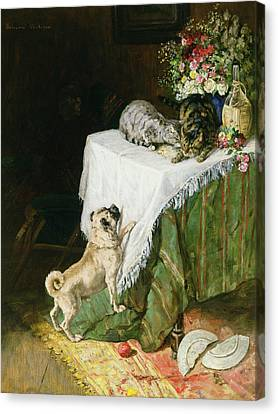 The Mischievous Tabbies Canvas Print by Clemence Nielssen