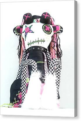 The Misfit Cyberpunk Pussy Cat Jones Version 1.0 Canvas Print by Oddball Art Co by Lizzy Love