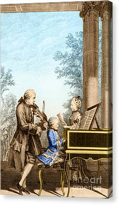 The Mozart Family On Tour 1763 Canvas Print by Photo Researchers